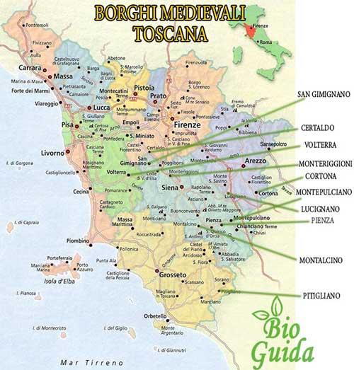 Mappa Borghi medievali Toscana